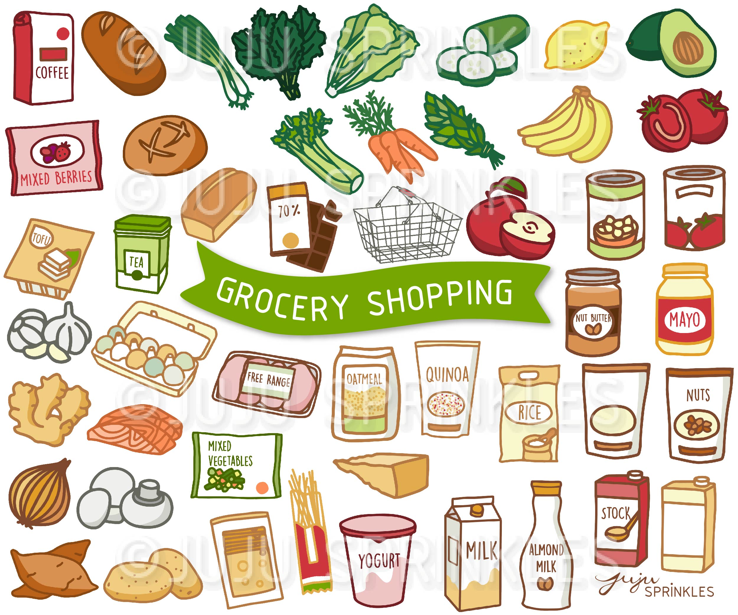 grocery shopping clipart and sticker set 600