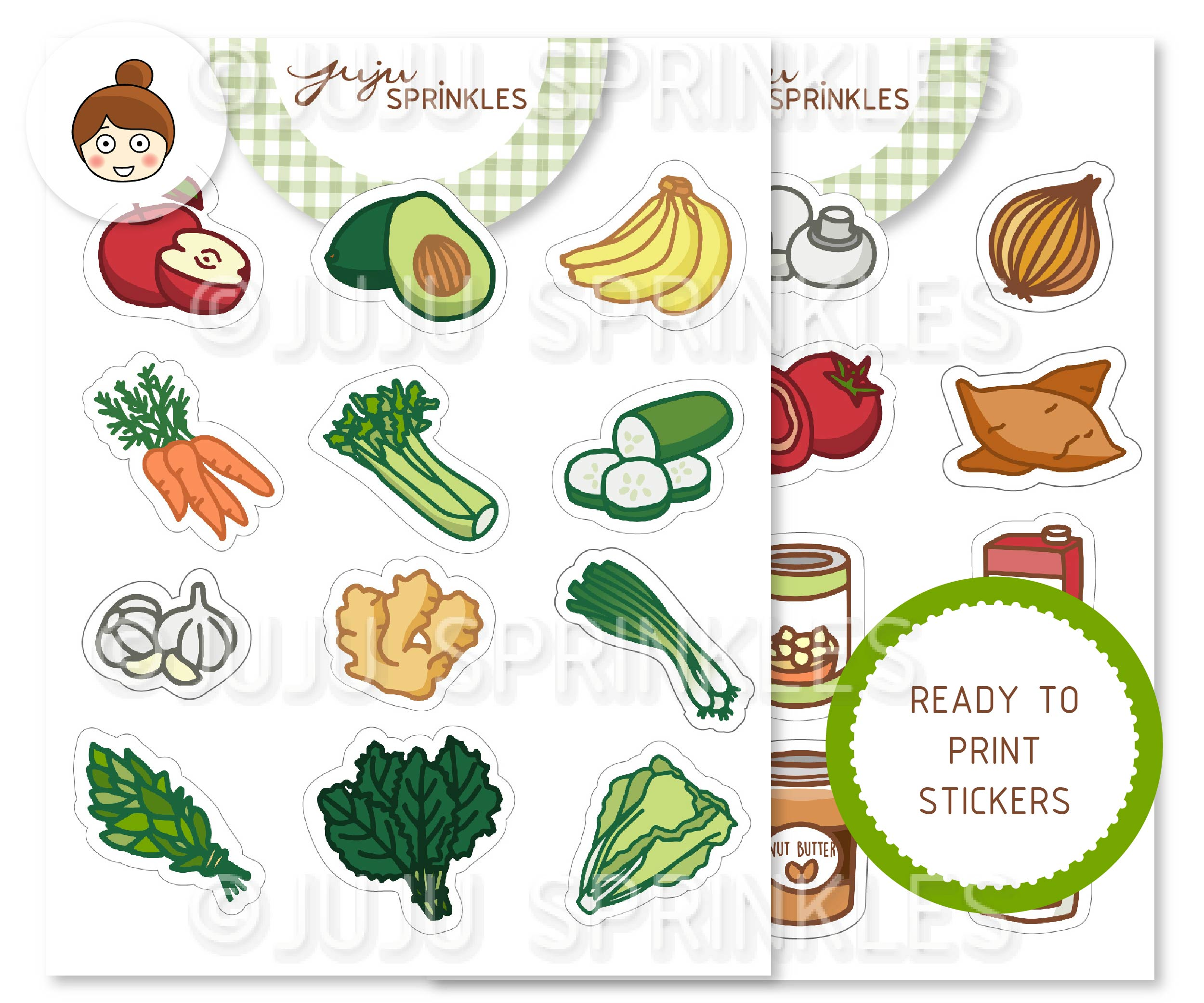 grocery shopping clipart and sticker set – juju sprinkles