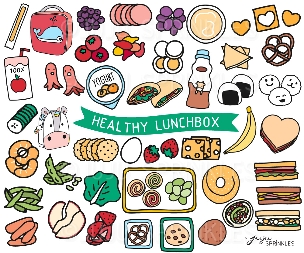 healthy lunchbox clipart and sticker set juju sprinkles rh jujusprinkles com travel stickers clipart clipart stickers free