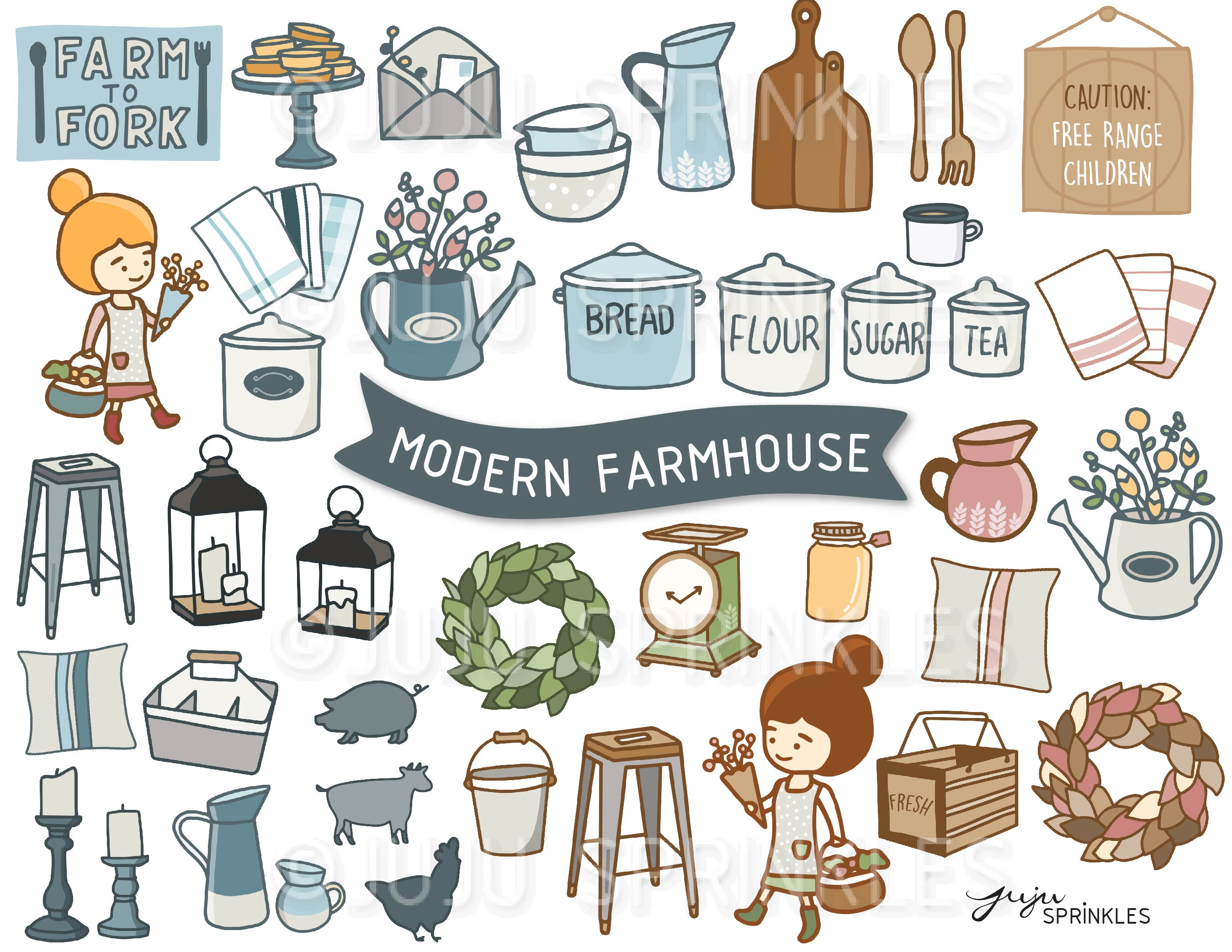 Modern Farmhouse Clipart And Sticker Set Juju Sprinkles