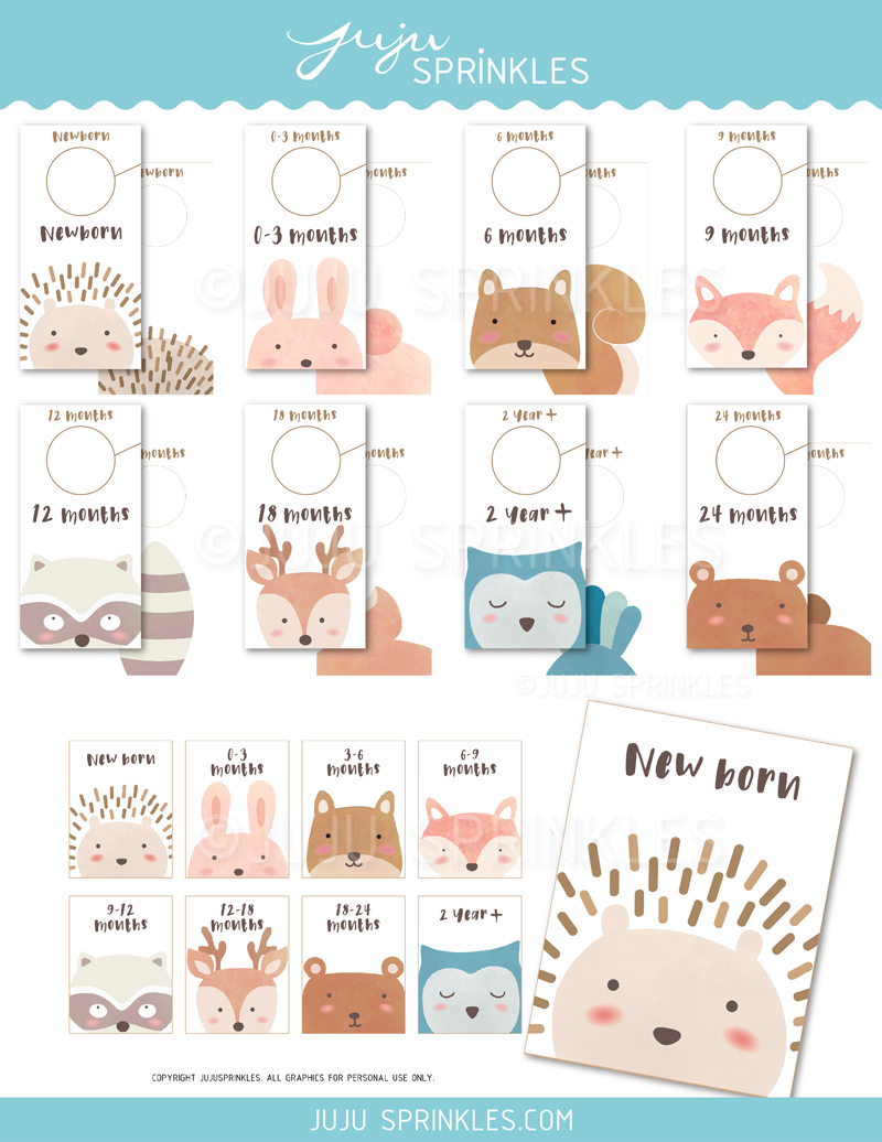 amazing Printable Baby Closet Dividers Part - 4: Woodland Animal Baby Closet Dividers and Labels Printable. 🔍. $6.00