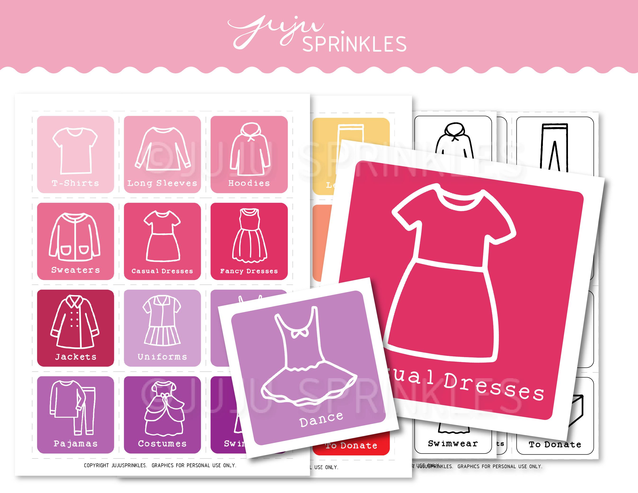 Kids Closet Organizational Labels Printable Girls Juju Sprinkles