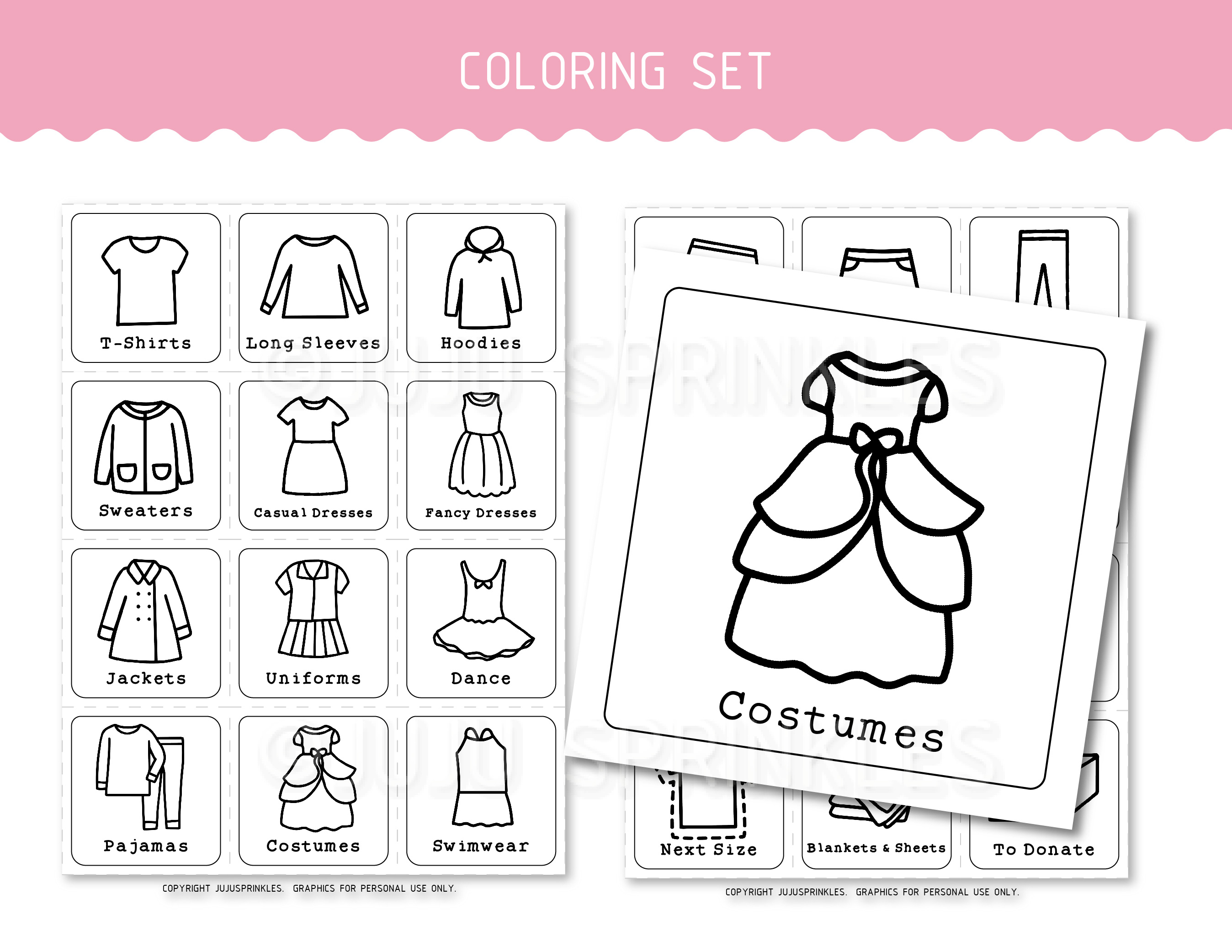 photograph regarding Printable Clothing Labels titled Small children Closet Organizational Labels Printable - Ladies
