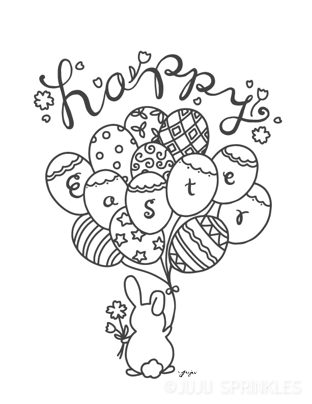 FREE Happy Easter Bunny Coloring