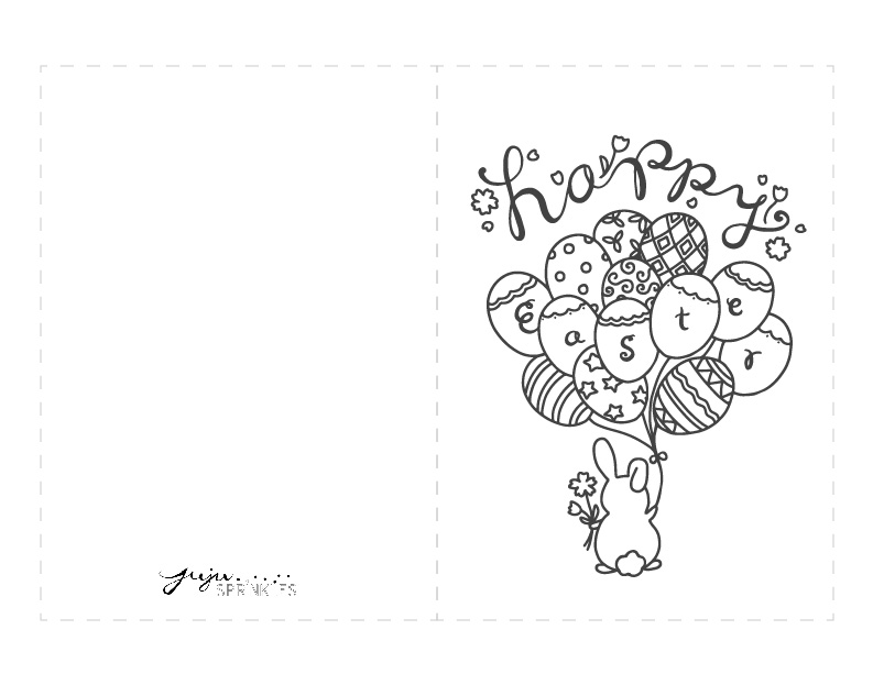 FREE Happy Easter Bunny Coloring Page And Card - Juju Sprinkles