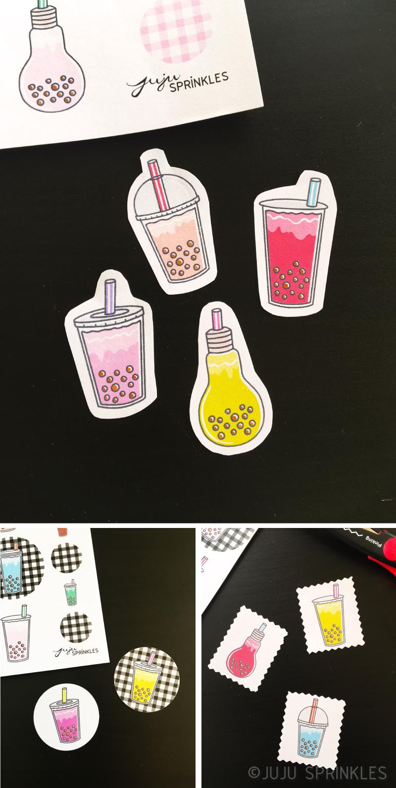 Free Bubble Tea Stickers Printable Juju Sprinkles