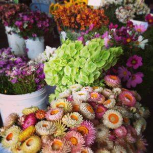 Bouquets of summer farmersmarket flowers