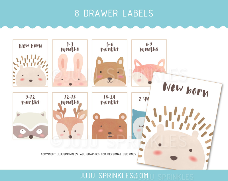 Woodland Animal Baby Closet Dividers And Labels Printable