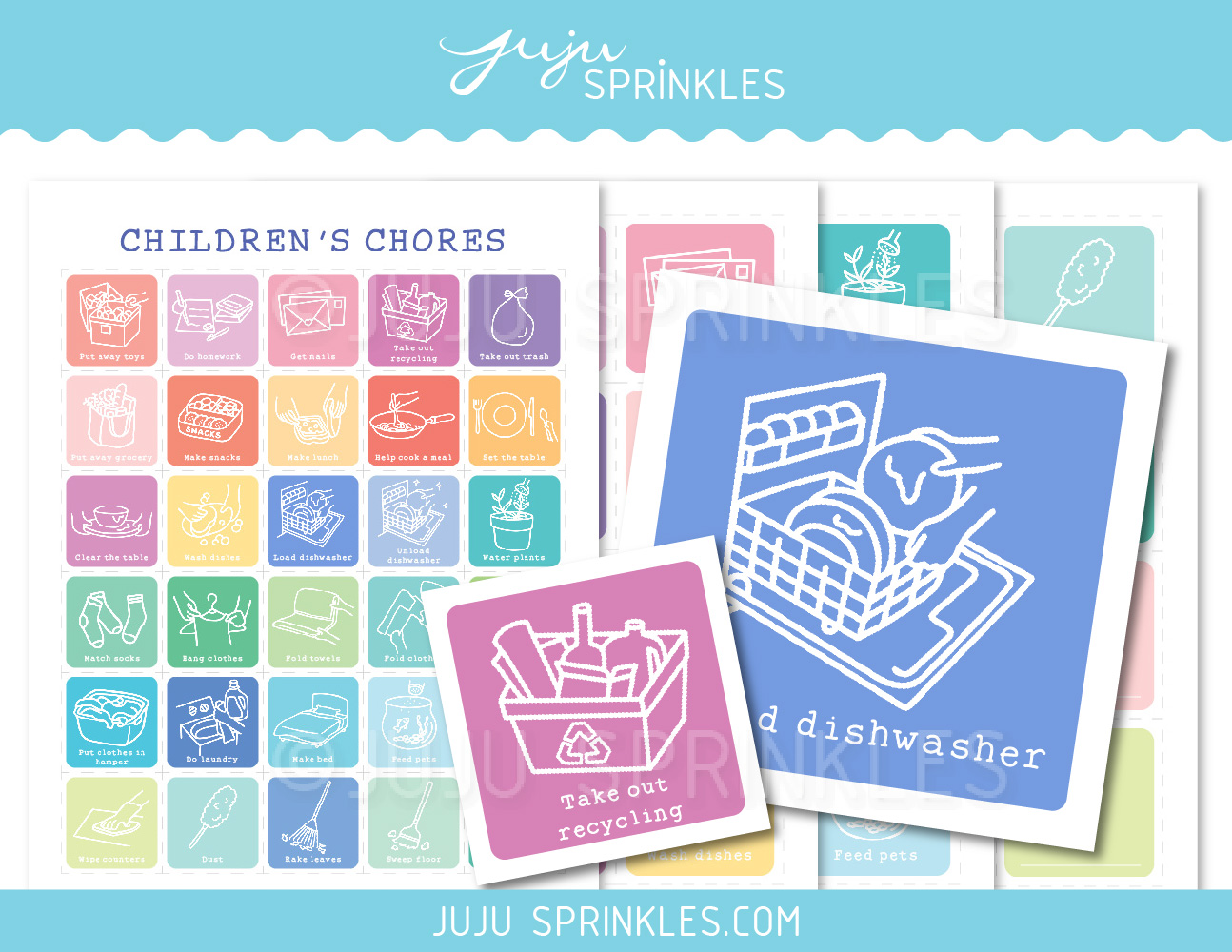 photograph relating to Colored Printable Labels identify Each day Children Chore Labels Printable